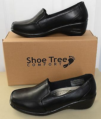 (New With Defects) Ladies Womens Black Comfort Slip On Work Shoes Size Uk 5 / Eu