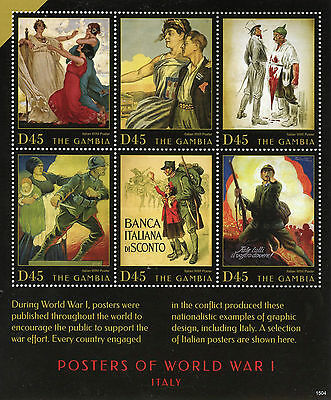 The Gambia 2015 MNH WWI Posters of World War I Italy 6v M/S WW1 Military Stamps