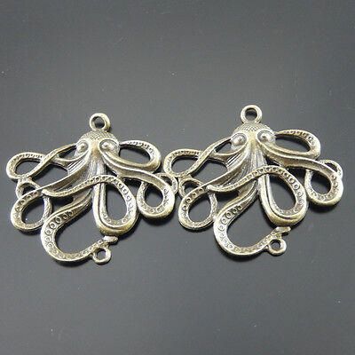 **Antique Bronze Alloy Octopus Charms Crafts Pendants Findings 3x 08129