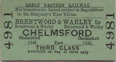 Railway Ticket: Great Eastern Brentwood & Warley to Chelmsford