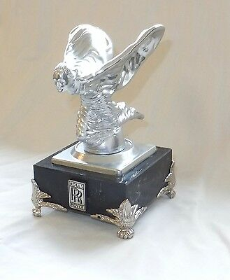 Rolls Royce Silver Kneeing Lady Ornament in Silver Plaster on a Marble Base