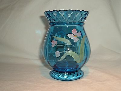 """5"""" Fenton Blue Glass Hand Painted Pink Flowers Vase Carol Griffiths"""