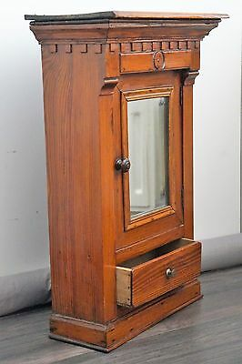 Antique authentic carved wood wall medicine bathroom cabinet glass mirror
