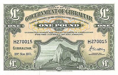 Gibraltar 1 Pound 20.11.1971  P 18b  Series H  Uncirculated Banknote