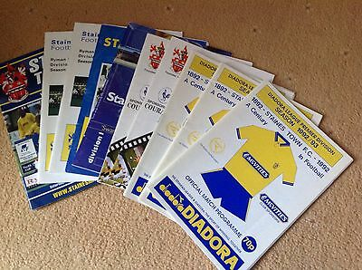A Collection Of 10 Staines town Football Programmes