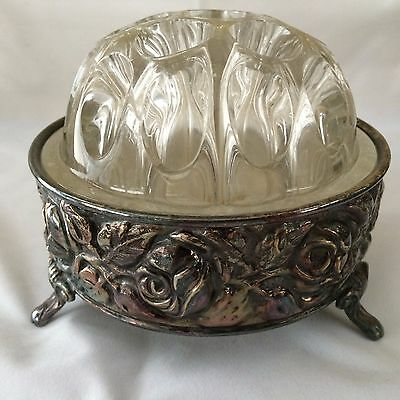 Very Unique De Uberti Silver Plated Footed Vase / Bowl W/glass Flower Frog Italy