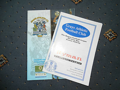 A collection of 2 Grays Athletic Football Programmes.