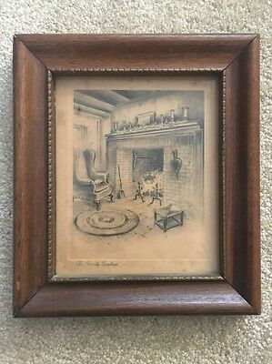 Vintage Antique Old Family Fireplace Print Hearth Framed