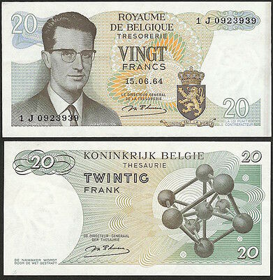 BELGIUM - 20 francs 1964 P# 138 Europe banknote - Edelweiss Coins