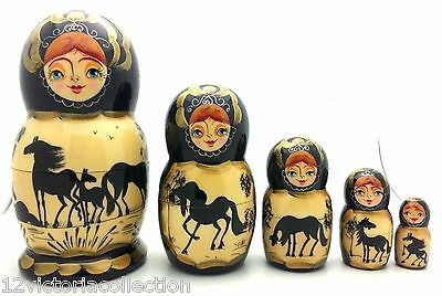 HORSE Russian Hand Carved Hand Painted Nesting DOLL Set of 5 dolls / Black gold