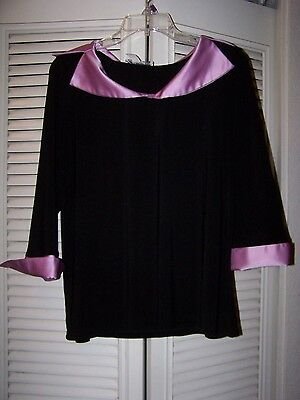 Women's black & pink blouse Size L, large stretchy 3/4 sleeve top
