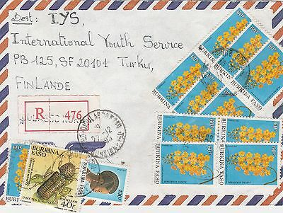 Burkina Faso Reg. Cover To Finland 1993 Good Fr. Insect Flower