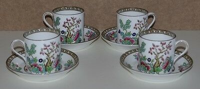 # Lovely Set Of 4 S.b. & S. Anchor China Indian Tree Coffee Cans & Saucers #