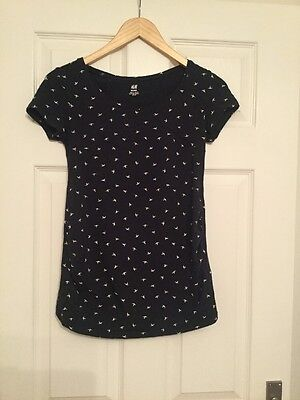 H And M Maternity top Size Small 8-10 Short Sleeve Navy