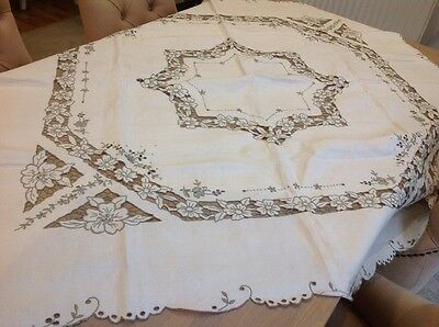 "VINTAGE UNUSED RETICELLA  MADEIRA HAND EMBROIDERED CUTWORK Square 52"" TABLECLOTH"