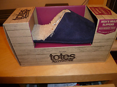 Totes Mens Suedette Mule Slippers Size 9 10 IN Navy Brand New In Box ++++++++