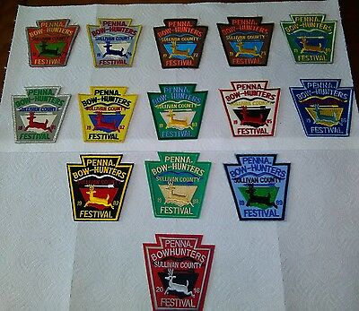 colection of pa bow hunters patches