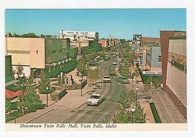 1950s 1960s Downtown Twin Falls Idaho Postcard Clarence Dudley Plastichrome