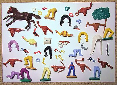 Timpo cowboy and Indian bodies, legs, heads, belts, necklaces, horse etc