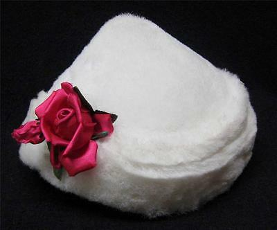Vintage Ladies Hat Plush White with Red Rose, Spring, Church, Winter