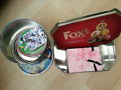 Job lot bundle collection only five (5) empty tins boxes for storage or baking