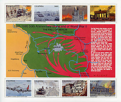 Uganda 1995 MNH WWII VE Day 50th End of World War II 8v MS Fall of Berlin Stamps