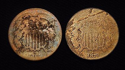 2 United States Two Cent Pieces (with Issues) 1864 & 1870
