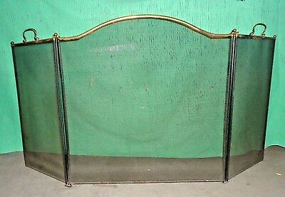 Antique Fireplace Screen,tri-Fold,square Mesh Screen,pure Brass Handle & Accents