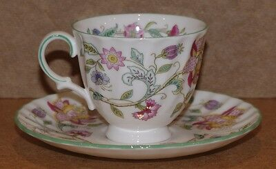 ### Lovely Vintage Minton Bone China Haddon Hall Coffee Can And Saucer ###