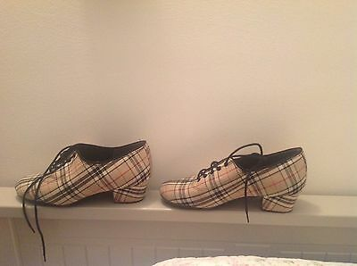 IDS International Dance Shoes Practise Shoes Heather Beige Check Size 2