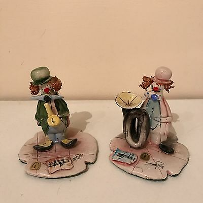 2 Zam Piva Signed Vintage Clown Figurines Made In Italy