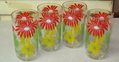 Vintage 1940s 1950s Lot 4 Red Yellow Flowers Drinking Glasses Tumblers