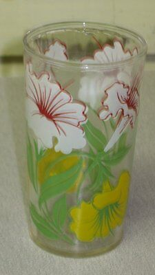Vintage 1940s 1950s Morning Glory White Yellow Flowers Drinking Glass Tumbler