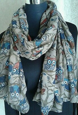 Lovely Large Size Ladies Winter/Spring Owl Print Scarf BNWT