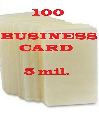 100 Business Card Laminating Pouches Sheets 2-1/4 x 3-3/4,   5 Mil