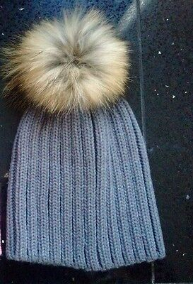 New Girls Grey Knitted Hat With Fur Pom Pom Ages 2-16 Years