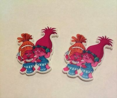 2 Trolls resin embellishments 45mm x 35mm, cakes, crafts & bows