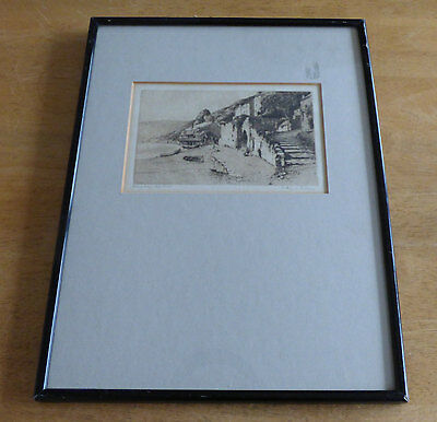 A Simes, Pencil Signed Etching, 'Clovelly Harbour' Framed & Glazed