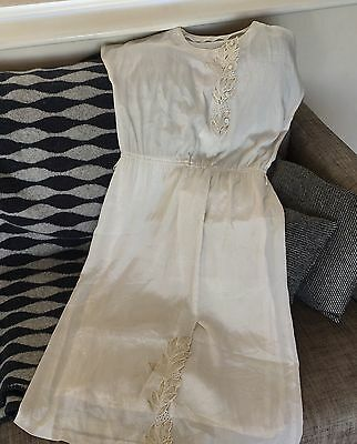 Vintage White Embroidered Dress 10 Retro 60s 70s