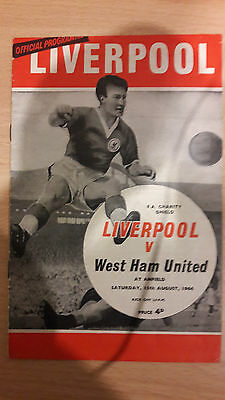Liverpool V West Ham United charity shield Programme