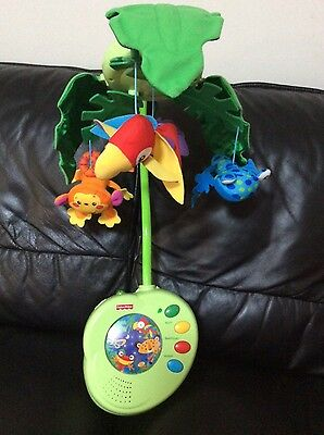 FISHER PRICE RAINFOREST JUNGLE PEEK A BOO Musical Cot Bed Baby Mobile Vgc