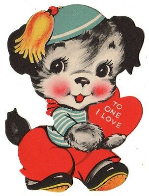 """Sweet Little Puppy Dog Says """"to One I Love"""" / Vintage Valentine Greeting Card"""
