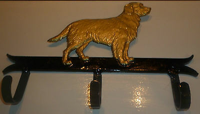 New blacksmith made coat or dog leash hanger with golden retriever relief