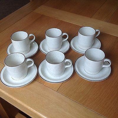 Six Poole Pottery Design Oatmeal Tea/Coffee  Cups And Saucers VGC
