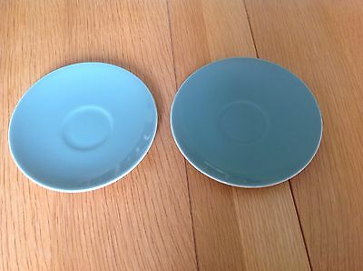 Two Poole Pottery Teal / Green Saucers VGC