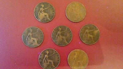 Edward vii coins 7 x 1 pence  various  years