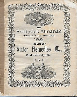 VINTAGE VICTOR REMEDIES CO FREDERICK ALMANAC 1902 FREDERICK CITY MD 32 pages