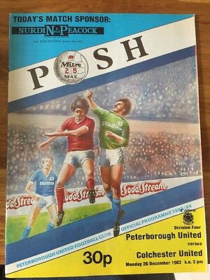 Peterborough United V  Colchester United Football Programme 1983