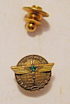 Vintage Boeing Aviation Manufacture Advertising 15 Year Service Gold 10K  Pin