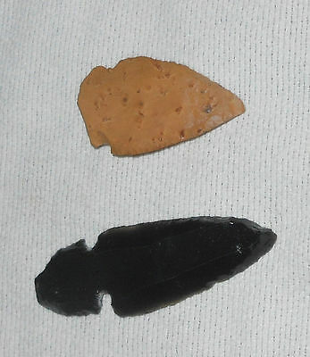 """Native American Indian Arrowheads 2"""" Black Obsidian & 1.5"""" Brown Stone Weapons"""